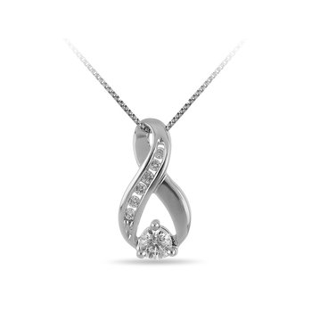 14K WG Diamond Infinity Fashion Slider Pendant in Channel and Prong Setting