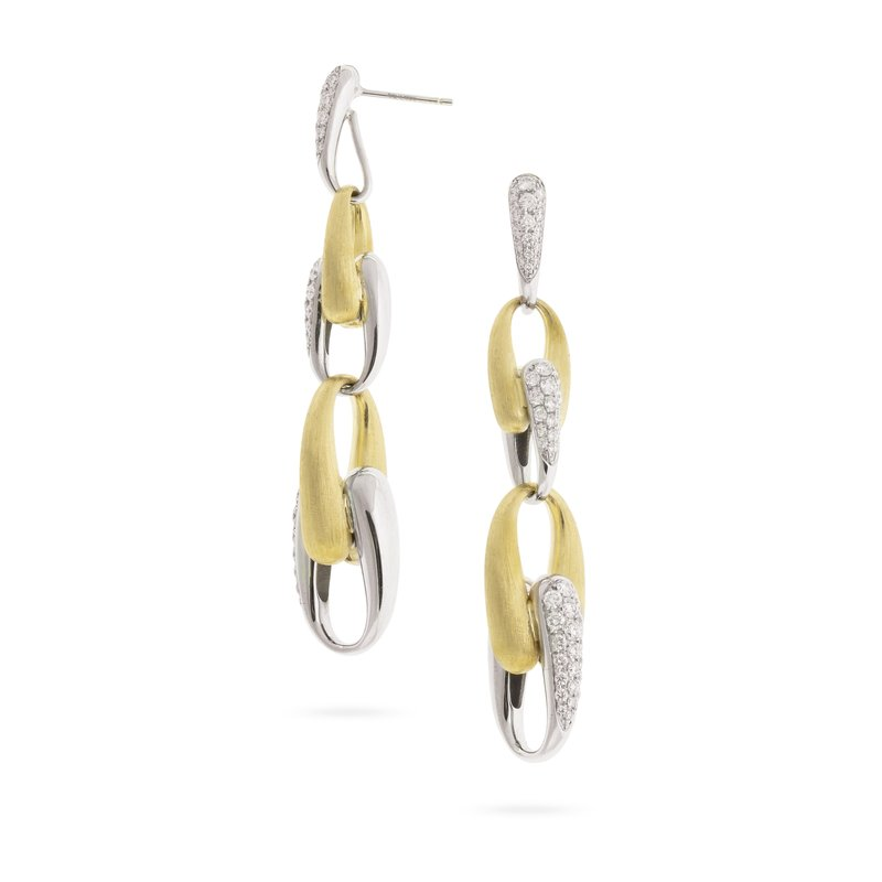 Marco Bicego Marco Bicego® Lucia Collection 18K Yellow Gold and Diamond Link Long Drop Earrings