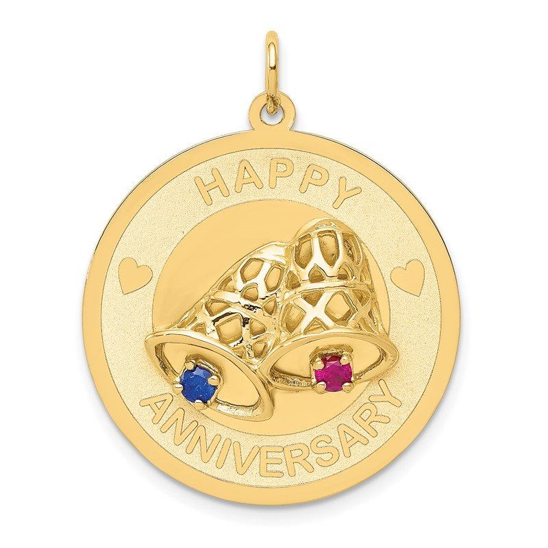 Quality Gold 14K HAPPY ANNIVERSARY Blue and Red CZ w/ Bells Charm