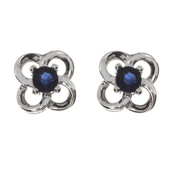 14k White Gold Round 3mm Sapphire Stud Earrings