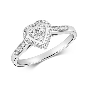 Diamond Cluster Ring Heart