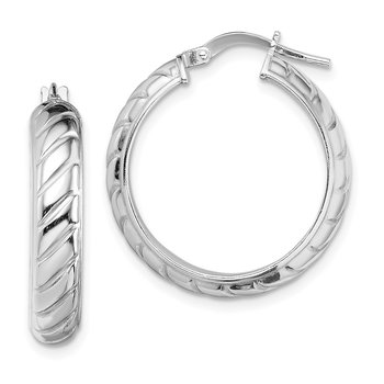 Sterling Silver Rhodium-plated 5x20mm Polished Textured Hoops