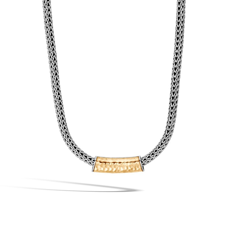John Hardy Classic Chain Pendant in Silver and Hammered 18K Gold