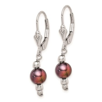 Sterling Silver RH 6-7mm Peacock FWC Pearl/Bead Leverback Earrings