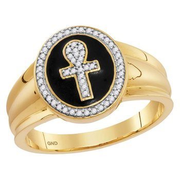 10kt Yellow Gold Mens Round Diamond Ankh Cross Fashion Ring 1/6 Cttw