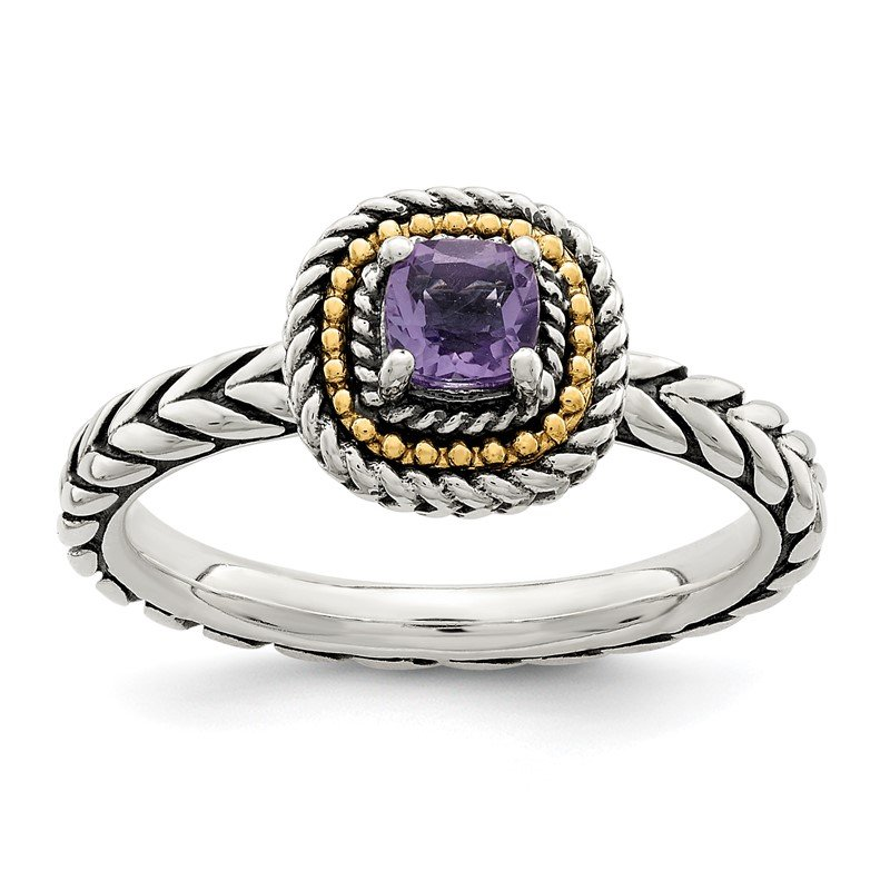 Quality Gold Sterling Silver w/ 14K Accent Amethyst Square Ring