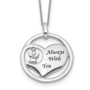 Sterling Silver Rhod-pltd Crystal Angel Enamel Heart Necklace