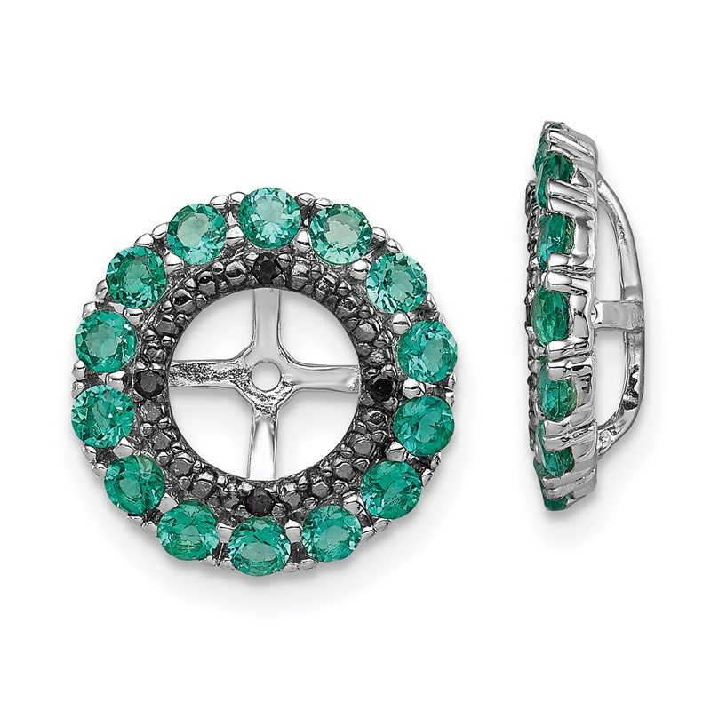Arizona Diamond Center Collection Sterling Silver Rhodium Created Emerald & Black Sapphire Earring Jacket