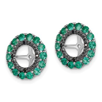 Sterling Silver Rhodium Created Emerald & Black Sapphire Earring Jacket