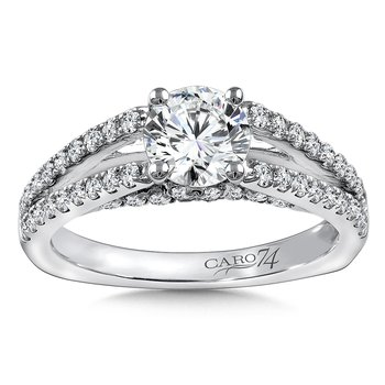 Diamond Engagement Ring Mounting in 14K White Gold with Platinum Head (.61 ct. tw.)