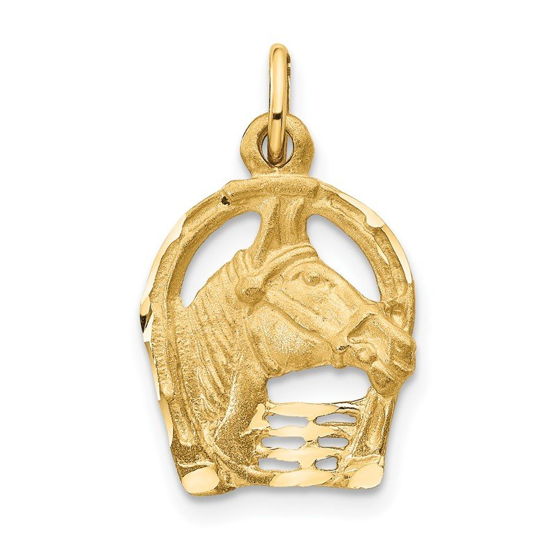 Quality Gold 14k Yellow Gold Diamond-cut Horse Head in Horseshoe Charm