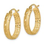 Quality Gold 14k Polished Diamond-cut In/Out Hoop Earrings