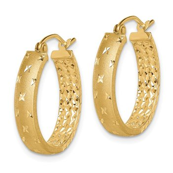 14k Polished Diamond-cut In/Out Hoop Earrings