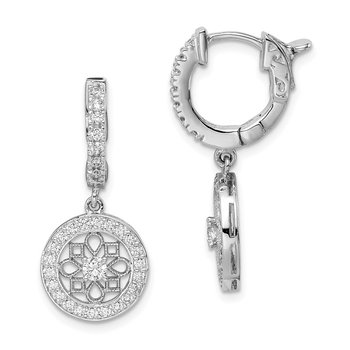 Sterling Silver Rhodium Plated CZ Hinged Hoop Dangle Earrings