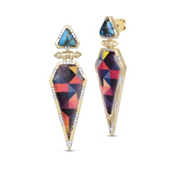 LuvMyJewelry Turquoise & Vibrant Mosaic  Fearless Diamond Earrings in Sterling Silver & 14 KT Yellow Gold Plating