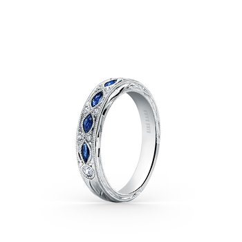 Engraved Sapphire Floral Diamond Wedding Band