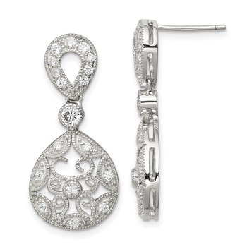 Sterling Silver CZ Antique Style Earrings