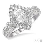 ASHI marquise shape semi-mount diamond engagement ring