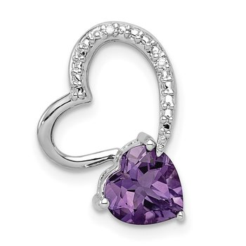Sterling Silver Rhodium Plated Diamond Amethyst Heart Chain Slide