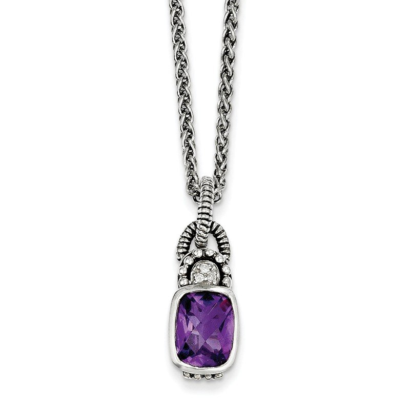 Shey Couture Sterling Silver Amethyst & Diamond Necklace