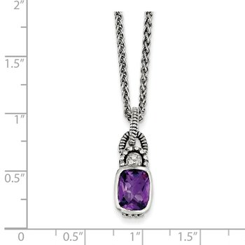 Sterling Silver Amethyst & Diamond Necklace