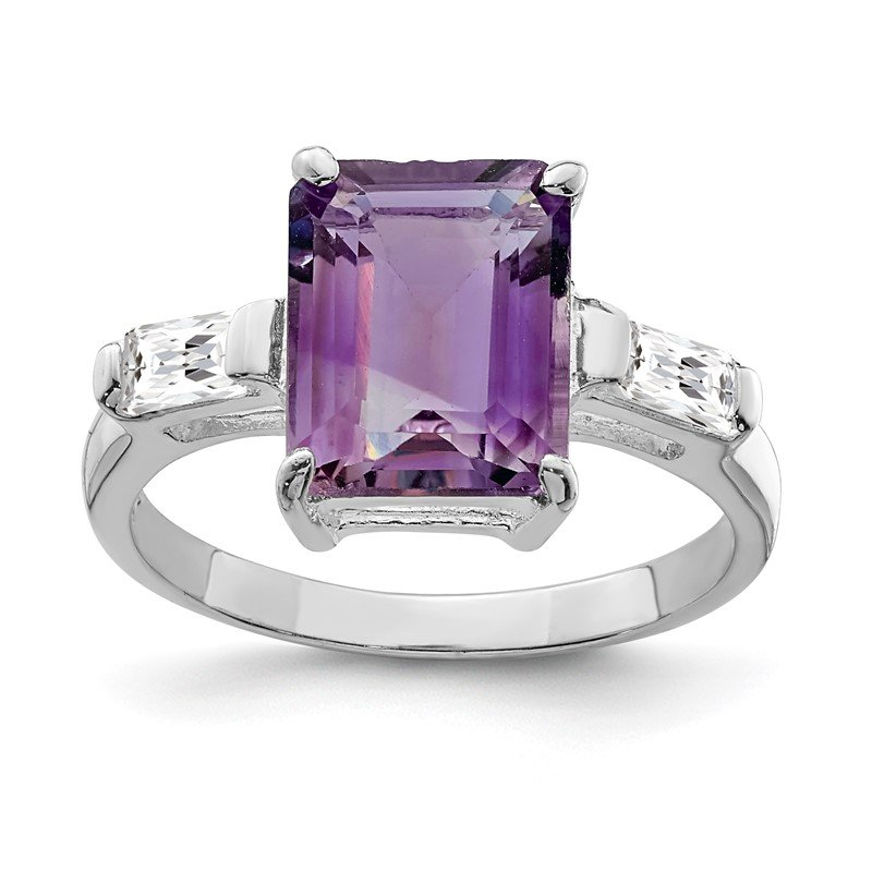 Quality Gold Sterling Silver Rhodium-plated Amethyst Ring