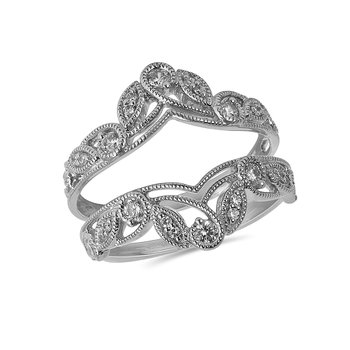 14K WG and diamond Open Crown Insert ring in prong and  pave setting