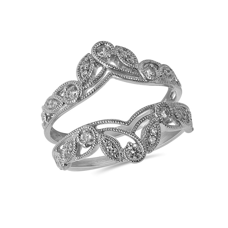 BB Impex 14K WG and diamond Open Crown Insert ring in prong and  pave setting