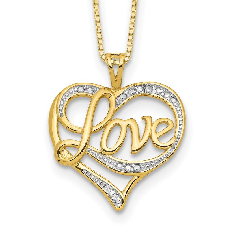 Quality Gold Sterling Silver Rhodium-plated & Vermeil Diam. Love Necklace