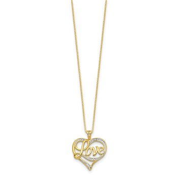Sterling Silver Rhodium-plated & Vermeil Diam. Love Necklace