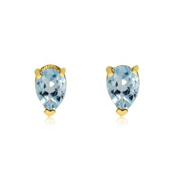 14k Yellow Gold Aquamarine Pear-Shaped Earring