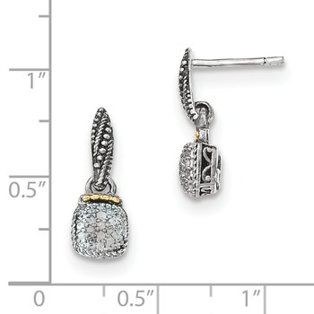 Sterling Silver w/14k Diamond Dangle Post Earrings