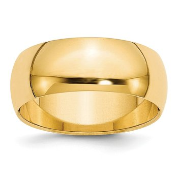 14k 8mm Half-Round Wedding Band