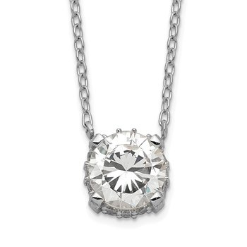 Sterling Silver Rhodium-plated 7mm CZ Necklace