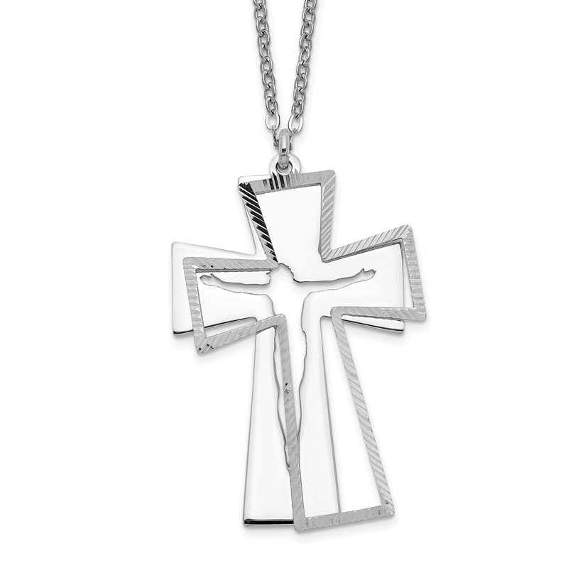 Quality Gold Sterling Silver 2-Piece D/C Crucifix Necklace