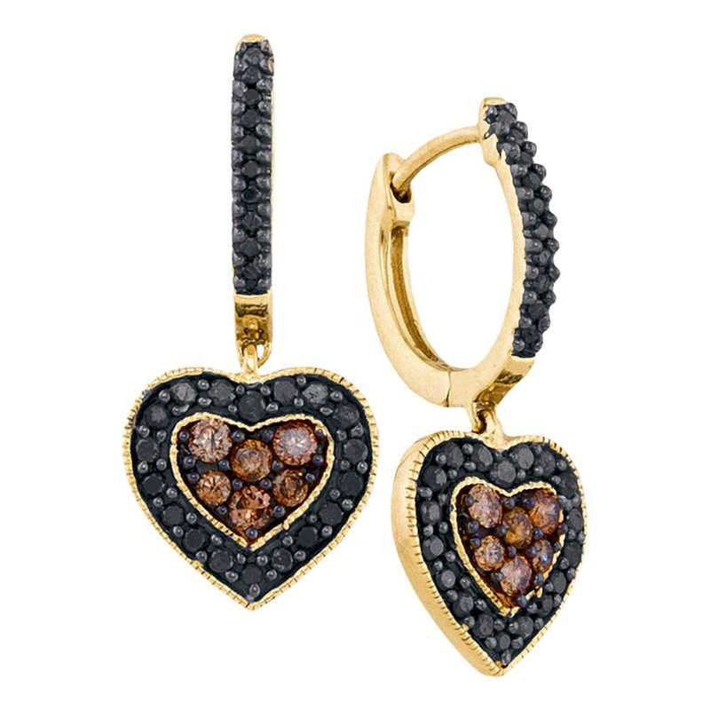 Gold-N-Diamonds, Inc. (Atlanta) 14kt Yellow Gold Womens Round Black Color Enhanced Diamond Heart Cluster Earrings 5/8 Cttw