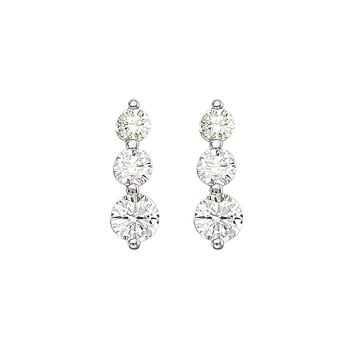 14k White Gold 2 ct 3 Stone Diamond Earring