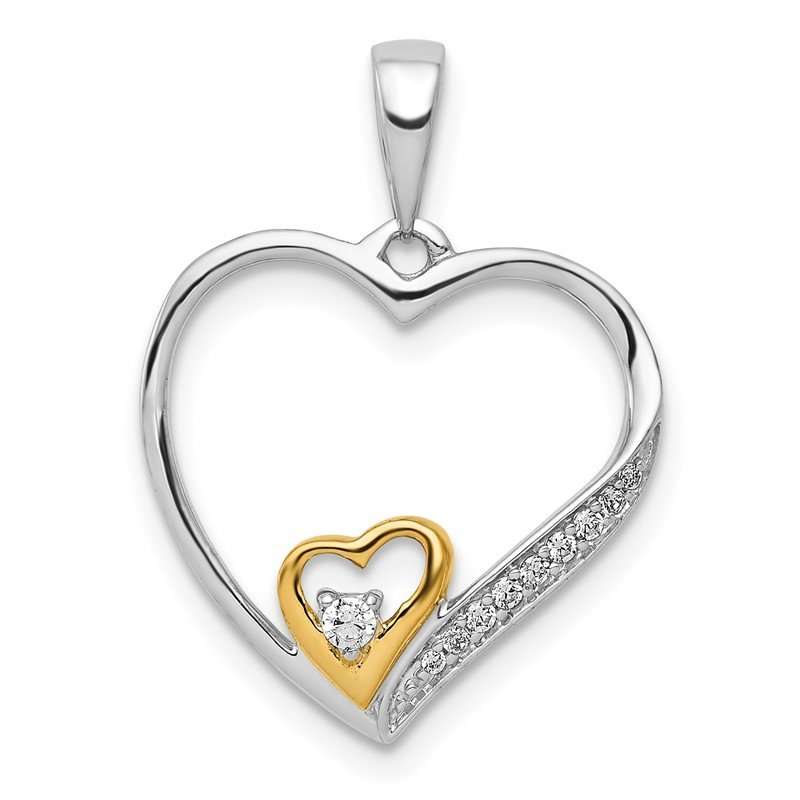 Quality Gold 14k Two-Tone 1/20ct. Diamond Double Heart Pendant