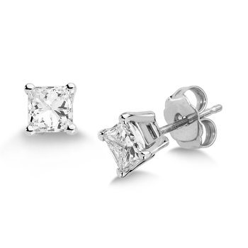 Four Prong Princess cut Diamond Studs in 14k White Gold Screw-back posts (3/8ct. tw.)