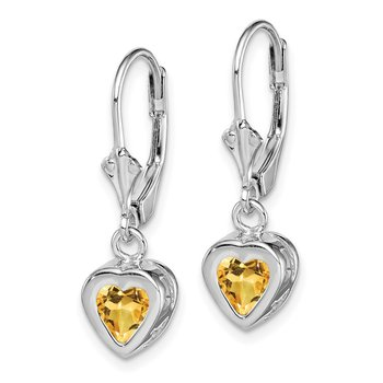 Sterling Silver Rhodium 6mm Heart Citrine Leverback Earrings