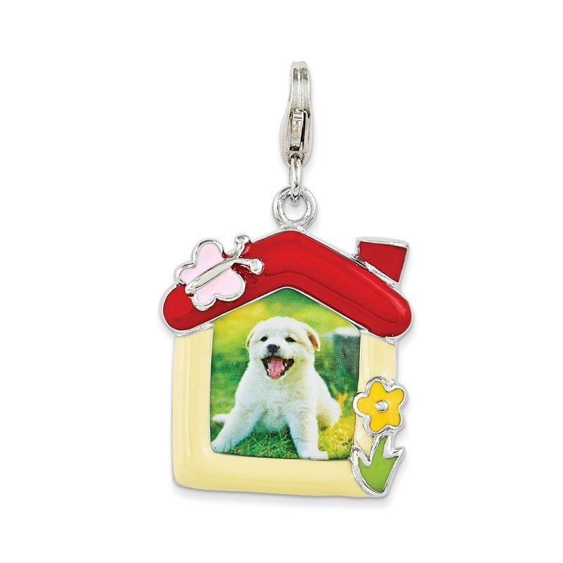 Quality Gold Sterling Silver Enameled Pet Picture Frame w/Lobster Clasp Charm
