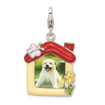 Sterling Silver RH Enameled Pet Picture Frame w/Lobster Clasp Charm