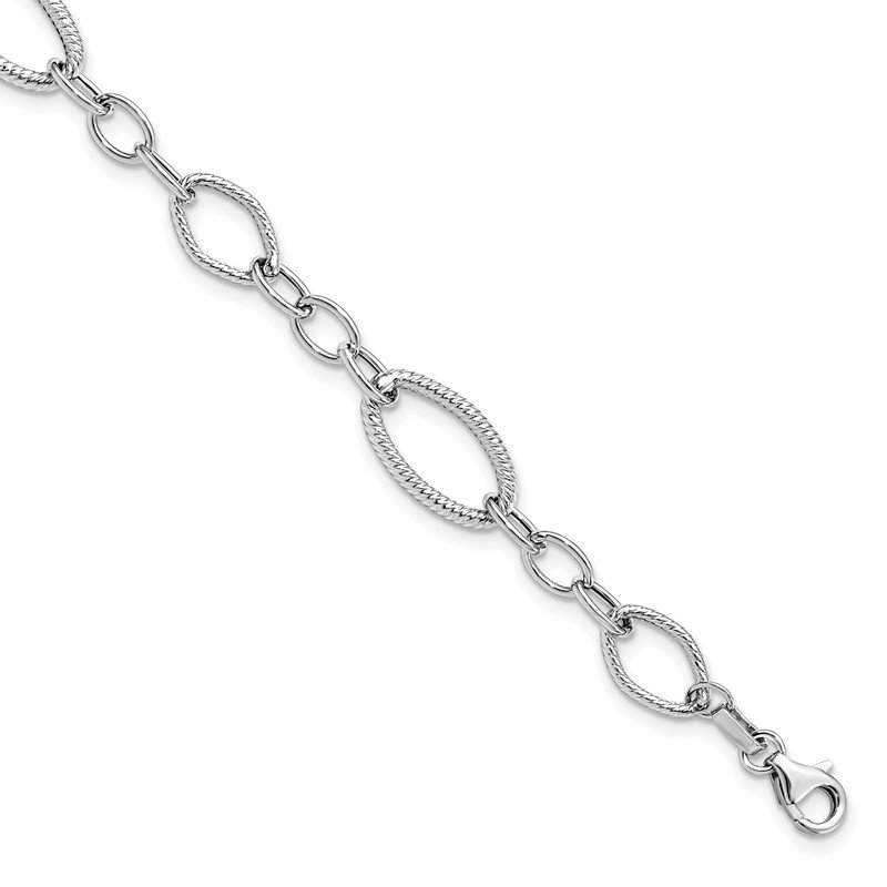 Leslie's Leslie's 14K White Gold Polished and Textured Link Bracelet