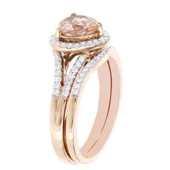 14k Rose Gold Heart-shaped Morganite 1/4ct TDW Diamond Bridal Set
