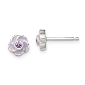 Sterling Silver Polished Purple CZ Enamel Flower Post Earrings