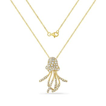 beautiful jelly fish necklace with 70 diamonds 0.56CT 25mm long