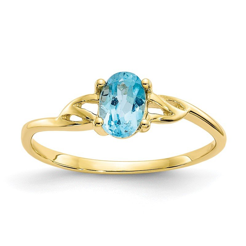 Quality Gold 10k Polished Geniune Blue Topaz Birthstone Ring