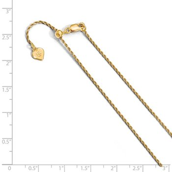Leslie's Sterling Silver Gold-plated Adjustable 1.2mm D/C Rope Chain