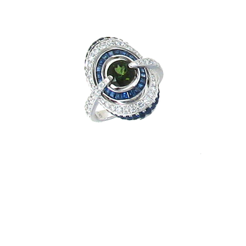 18KT GOLD RING WITH DIAMONDS, GREEN TOURMALINE AND BLUE SAPPHIRE