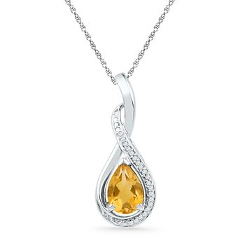 Sterling Silver Womens Oval Lab-Created Citrine Solitaire Diamond Frame Twist Pendant 1.00 Cttw